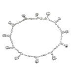 Sterling Silver Anklet with Spider and Ball Charms