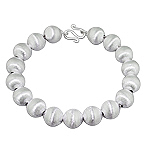 Tiffany Inspired Sterling Silver Satin Finish 10mm Balls Bracelet