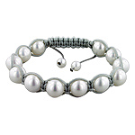 10mm Cultured Freshwater White Pearl and Grey String 12 Bead Shamballa Bracelet