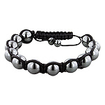 10mm Hematite Beads and Black String 12 Bead Shamballa Bracelet