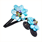Blue Mother of Pearl and Glass Beads Two Flower Adjustable Length Cuff Bracelet