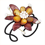 Dyed Brown Mother of Pearl Blooming Flower Adjustable Length Cuff Bracelet