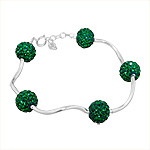 Sterling Silver and Green Crystal Glass Disco Ball Wave Bracelet, 7""