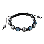 8mm Hematite and Saphire Blue Disco Ball Beads 11 Bead Shamballa Bracelet with Black String