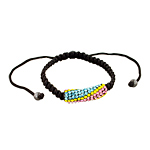 Multicolor Rhinestones and Black String Adjustable Length Bracelet with Hematite Accents