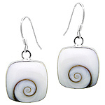 Sterling Silver Rounded Square Dangle Earrings with Eye of Shiva Shell