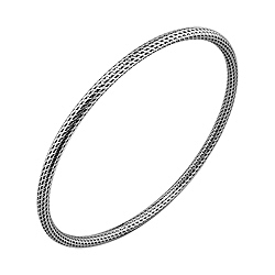 Sterling Silver Knit Pattern Round Bangle