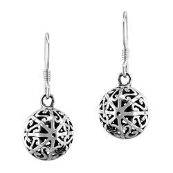 Sterling Silver Filigree Ball Dangle Earrings