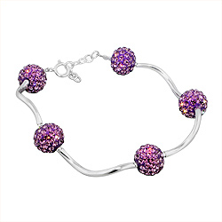 Sterling Silver and Light Purple Crystal Glass Disco Ball Wave Bracelet, 7""
