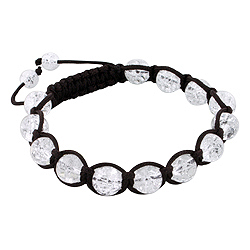 8mm Clear Cracked Crystal Beads and Brown String 13 Bead Shamballa Bracelet