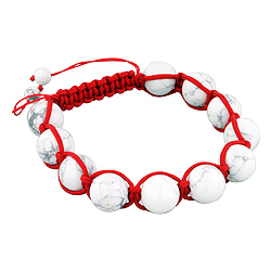 12.5mm White Turquiose Beads and Red String 11 Bead Shamballa Bracelet