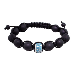 11.5mm Daisies on Blue-Teal Enamel Bead and 10mm Matte Black Onyx Beads 11 Bead Shamballa Bracelet w