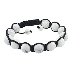 10mm White Turquiose Beads and Black String 12 Bead Shamballa Bracelet