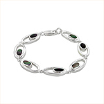 Sterling Silver Oval in Oval Bracelet with Black Mother of Pearl