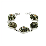 Sterling Silver and Turbo Shell Swirl Links Bracelet