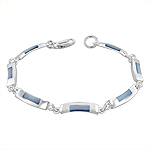 Sterling Silver Curved Links Bracelet with Blue Mother of Pearl