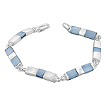 Sterling Silver Rectangle Links Bracelet with Blue Mother of Pearl
