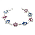 Sterling Silver Square Links Bracelet with Pink and Blue Mother of Pearl