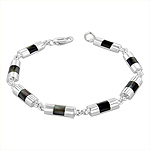 Sterling Silver Half-Cylinder Links Bracelet with Black Mother of Pearl