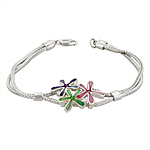 Sterling Silver Three Flowers Bracelet with Pink-Green-Purple Mother of Pearl