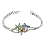 Sterling Silver Three Flowers Bracelet with Blue-Yellow-Green Mother of Pearl