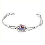 Sterling Silver Flower Bracelet with Purple-Black-Pink Mother of Pearl