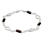 Sterling Silver Hearts and Waves Bracelet with Black Mother of Pearl