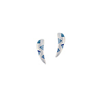 "Sterling Silver ""Fang"" Stud Earings with Blue Triangular Mother of Pearl Inlays"