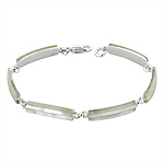 Sterling Silver Rectangle Links Bracelet with White Mother of Pearl