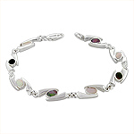 "Sterling Silver ""69"" Links Bracelet with Black and White Mother of Pearl"