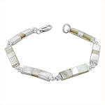 Sterling Silver Rectangilar Links Bracelet with White Mother of Pearl