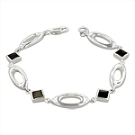 Sterling Silver Oval and Square Links Bracelet with Black Mother of Pearl