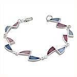 Sterling Silver Triangles Bracelet with Pink-Blue Mother of Pearl
