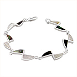 Sterling Silver Triangles Bracelet with Black-White Mother of Pearl