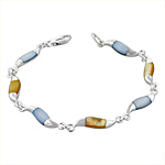 Sterling Silver Waves Bracelet with Blue and Yellow Mother of Pearl