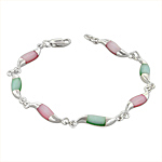 Sterling Silver Waves Bracelet with Pink and Green Mother of Pearl