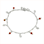 Sterling Silver Anklet with Heart and Orange-White Crystal Charms