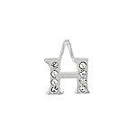 "Sterling Silver ""H"" Initial Pendant with White CZ"