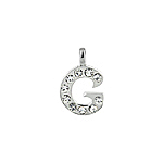 "Sterling Silver ""G"" Initial Pendant with White CZ"