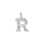 "Sterling Silver ""R"" Initial Pendant with White CZ"