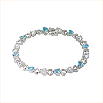 Sterling Silver Open and CZ Hearts Bracelet with White and Light Blue CZ