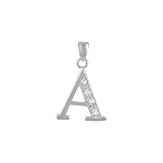 "Sterling Silver ""A"" Pendant with White CZ"