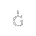 "Sterling Silver ""G"" Pendant with White CZ"