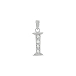"Sterling Silver ""I"" Pendant with White CZ"