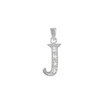 "Sterling Silver ""J"" Pendant with White CZ"