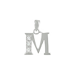 "Sterling Silver ""M"" Pendant with White CZ"