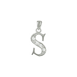 "Sterling Silver ""S"" Pendant with White CZ"