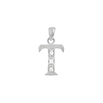 "Sterling Silver ""T"" Pendant with White CZ"