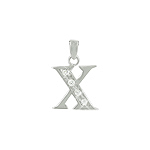 "Sterling Silver ""X"" Pendant with White CZ"
