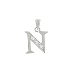 "Sterling Silver ""N"" Pendant with White CZ"